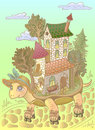 Detailed  Illustration. Travel . Tortoise Riding Rollers.fantasy . House On Wheels . Relocation.  Fairy Town .children . Dream. Royalty Free Stock Image - 63046456
