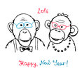 Hand Drawn Funny Monkeys In A Hipster Style Royalty Free Stock Photography - 63051477