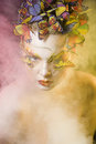 Woman With Summer Creative Make Up Like Fairy Stock Photography - 63053442