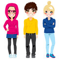 Young Teenagers Colorful Casual Clothes Royalty Free Stock Image - 63072746