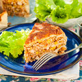 A Piece Of Mexican Chicken And Corn Tortilla Pie Stock Photography - 63092022