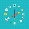 Education And Curriculum Icons. Clock Shape Royalty Free Stock Photos - 63099958