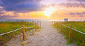 Path On The Sand Going To The Ocean In Miami Beach Royalty Free Stock Photography - 63100817