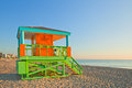 Sunrise In Miami Beach Florida, With A Colorful Lifeguard House Royalty Free Stock Images - 63100819
