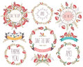 Floral Frame Collection. Wedding Set Flowers, Wreaths, Ribbons. Royalty Free Stock Image - 63103766