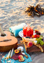 Picnic On The Beach At Sunset In The Boho Style Stock Photos - 63119723