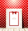 Light Wood Frame On Red Wall With White Polka Dots. Royalty Free Stock Images - 63132099