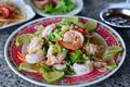 Thai Spicy Salad With Chicken, Shrimp, Fish And Vegetables Royalty Free Stock Images - 63141769