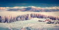 Foggy Winter Scene In The Snowy Mountain. Royalty Free Stock Images - 63142999