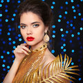 Beauty Portrait Of A Beautiful Fashion Girl Model With Red Lips Stock Photos - 63146543