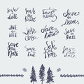 Vector Hand Drawn Save The Date Lettering Set. Can Stock Photo - 63149320