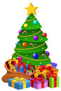 Decorated Xmas Tree Giftboxes Isolated Royalty Free Stock Images - 63151029