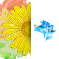 Summer Time Greeting Card, Watercolor Sunflower Stock Images - 63165324