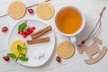 Cup Of Tea And On The Wooden Background Stock Photography - 63181482
