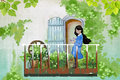Illustration For Children: The Young Girl Stays In Her Balcony Garden, Enjoy Visiting Her Flower Friends. Royalty Free Stock Photos - 63197838