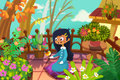 Illustration For Children: The Girl And The Bird. In Her Tiny Garden On Her Balcony, She Meet Her Little Friend. Royalty Free Stock Images - 63197899