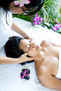 Woman Restful While Having A Facial Massage Royalty Free Stock Photos - 6328308