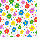 Colorful Seamless, Pattern  Of Flower With Heart  Royalty Free Stock Photo - 63200585