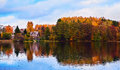 Countryside Autumn House At The Bank Of A Lake In Trakai Royalty Free Stock Image - 63202886