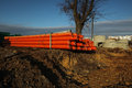 Red Plastic Water Pipes Royalty Free Stock Photos - 63203518