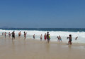 People Waiting For The Wave At Copacabana Beach Stock Images - 63205654