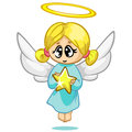 Vector Illustration Cute Christmas Flying Angel Character Royalty Free Stock Photos - 63211268