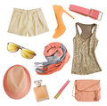 Soft Colors Female Clothes And Accessories Isolated. Royalty Free Stock Photo - 63214725
