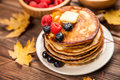 High Pile Of Delicious Pancakes Stock Photography - 63221012