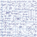 Math Vector Seamless Texture With Formulas, Plots, Algebraic And Geometric Figures And Functions Stock Image - 63227971