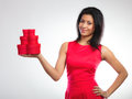 Lovely Woman With Red Heart Shaped Gift Box Stock Photo - 63235020