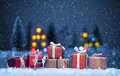 Christmas Night Landscape With Gifts Royalty Free Stock Photo - 63255355