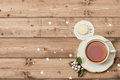 Cup Of Tea. Mince Pie. Shining Stars. Wooden Royalty Free Stock Photos - 63257608