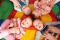 Overhead View Of Babies Having Fun At Nursery Playgroup Royalty Free Stock Photo - 63266485