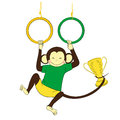 Victory. Monkey Hanging On Gymnastics Rings And Holding Winning. Royalty Free Stock Photos - 63272588