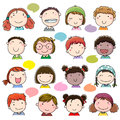 Hand Drawn Children Faces Set Royalty Free Stock Photos - 63274908
