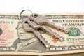Keys On Dollar Notes Close Up Concept Stock Images - 63295784