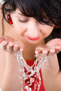 Pretty Woman Refreshing The Face Stock Image - 6338851