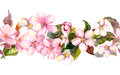 Seamless Repeated Floral Border - Pink Cherry Sakura And Apple Flowers. Watercolor Stock Photography - 63301972