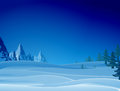 Night Snowy Scene With Ridge And Christmas Trees Royalty Free Stock Images - 63303279