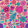 Vector Flower Pattern. Seamless Botanic Texture, Detailed Flowers Illustrations. All Elements Are Not Cropped And Hidden Under Mas Stock Images - 63304984
