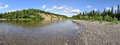 Panoramic River Landscape In The Polar Urals. Stock Photography - 63305272
