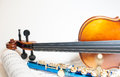 Wood Violin Detail With Blue Flute And Score Royalty Free Stock Photos - 63308908