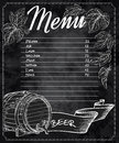 Vector Hand Drawn Chalkboard Beer Menu With Cones And Leaves Of Hop And Beer Barrel Royalty Free Stock Photo - 63310485