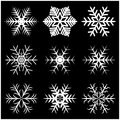 Christmas Snowflake, Frozen Flake Silhouette Icon, Symbol, Design. Winter, Crystal Vector Illustration Isolated On The Black Backg Royalty Free Stock Photo - 63310855