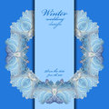 Wedding Wreath Frame Design. Winter Frozen Glass Background. Text Place. Royalty Free Stock Images - 63335239