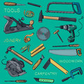 Collection Of Hand Drawn Carpentry, Woodworker Stock Images - 63340194