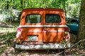 Back Of Old Orange Panel Truck Royalty Free Stock Photography - 63344987