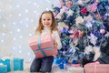 Happy Girl With Gift. Christmas. Stock Images - 63346244
