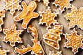 Holiday Background With Gingerbread Cookies Over Wooden Table Royalty Free Stock Images - 63351729