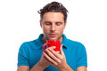 Man With Red Cup Stock Photography - 63353832
